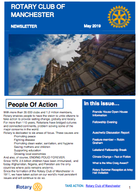 Rotary Club of Manchester Newsletter May 2019
