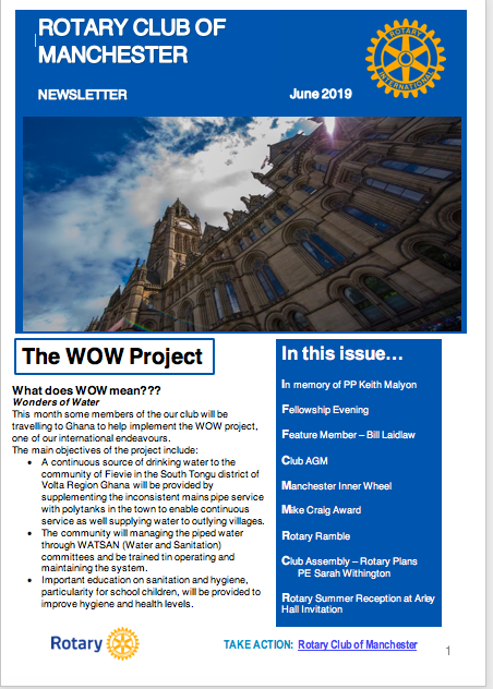 June 2019 Newsletter Rotary Club of Manchester