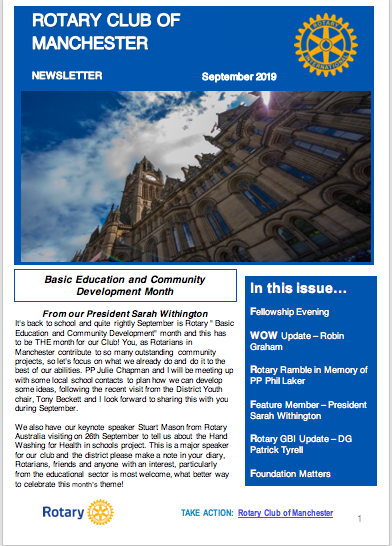 Rotary Club of Manchester Newsletter Sept 2019