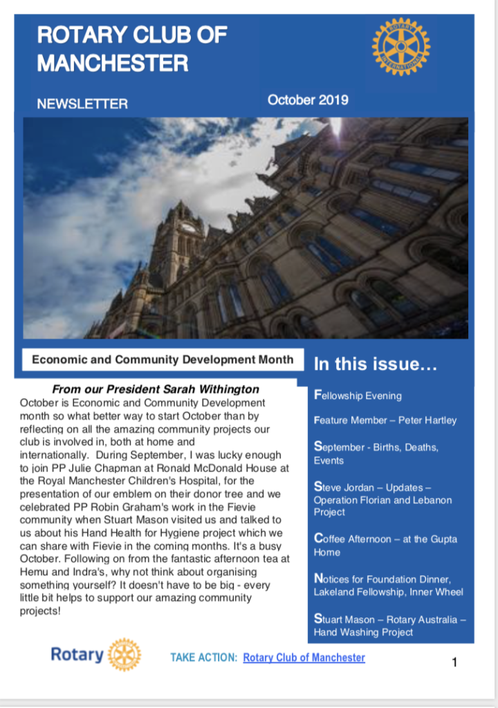Rotary Club of Manchester Oct 2019 Newsletter