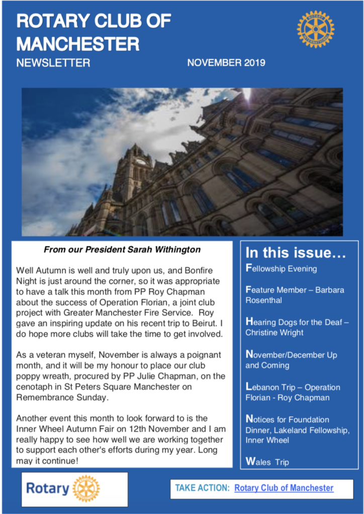 Rotary Club of Manchester Newsletter November 2019