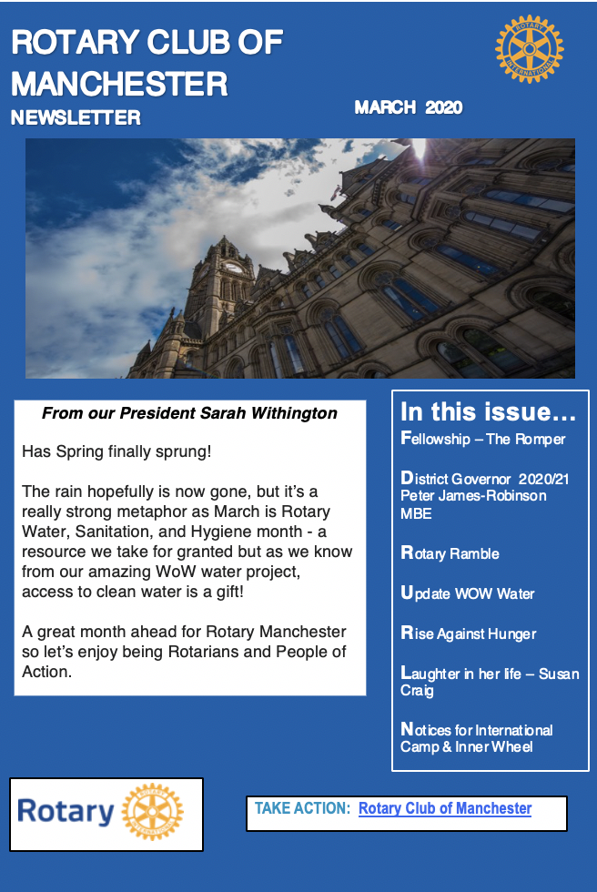 Rotary Club of Manchester Newsletter March 2020