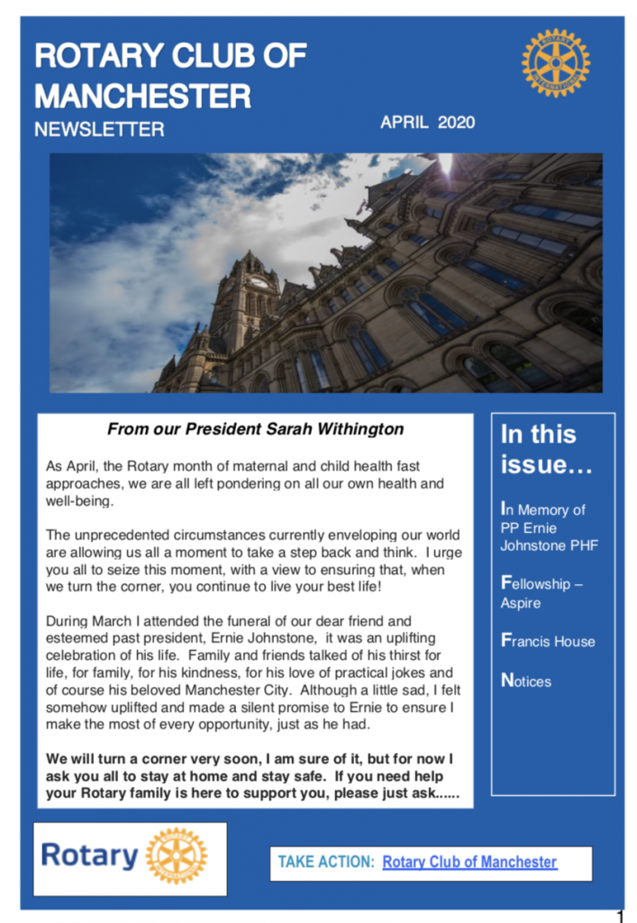 Rotary Club of Manchester Newsletter April 2020 First Page