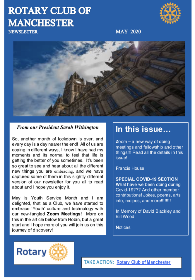 Rotary Club of Manchester Newsletter May 2020