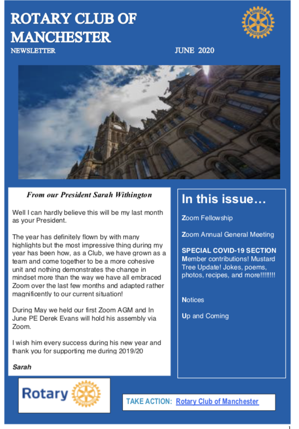 June 2020 Newsletter Rotary Club of Manchester
