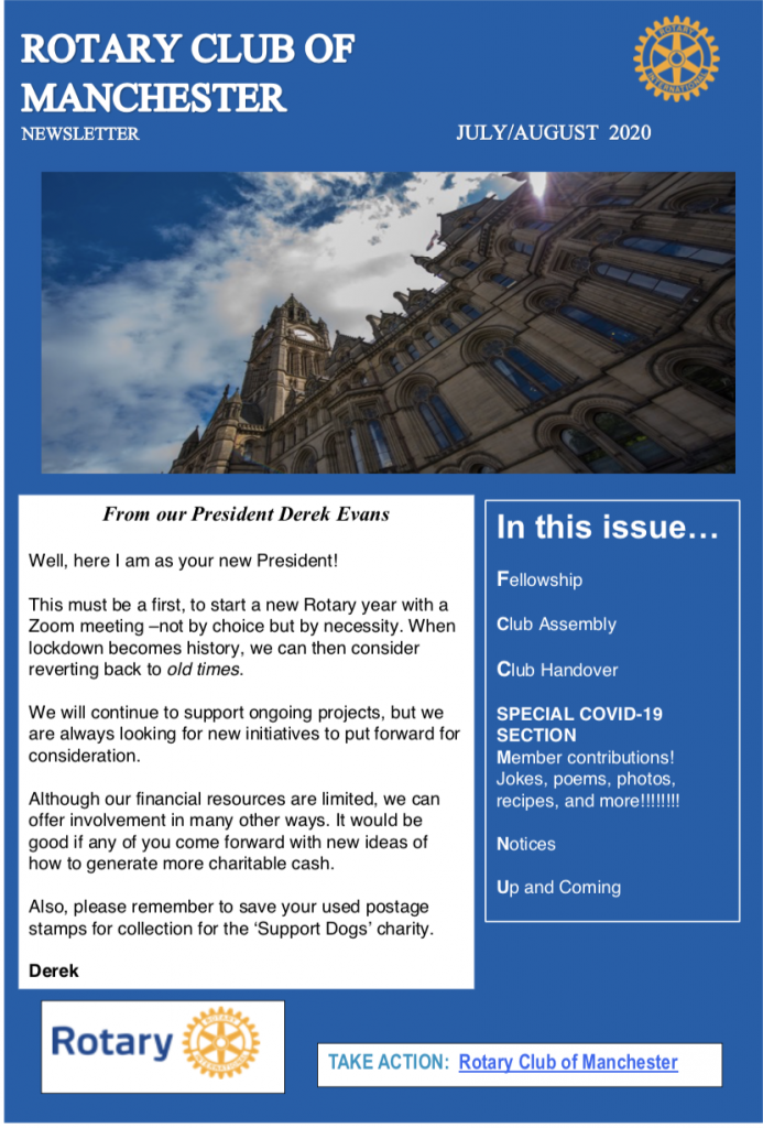 Rotary Club of Manchester July/August Newsletter 2020