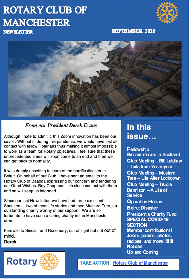 Sept 2020 Newsletter Rotary Club of Manchester