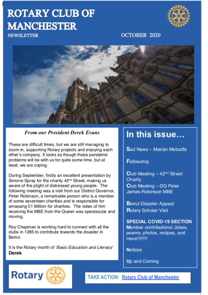 October 2020 Newsletter Rotary Club of Manchester