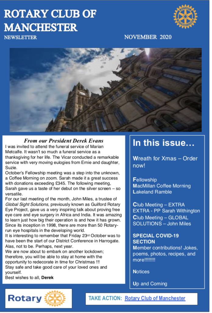 Nov 2020 Newsletter Rotary Club of Manchester