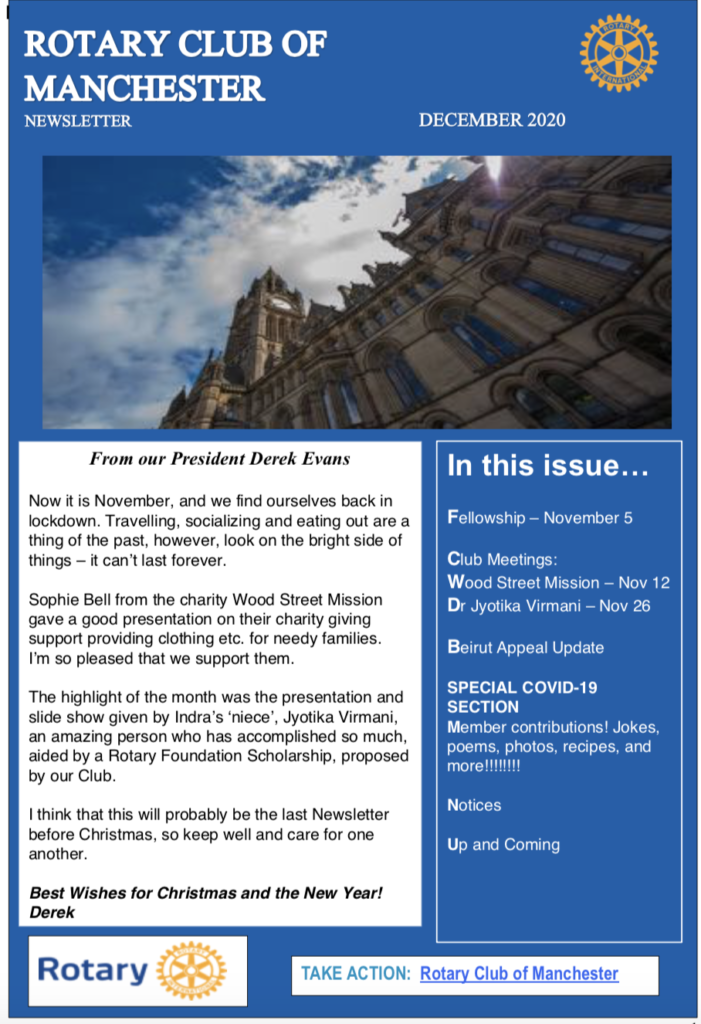 Rotary Club of Manchester Newsletter December 2020