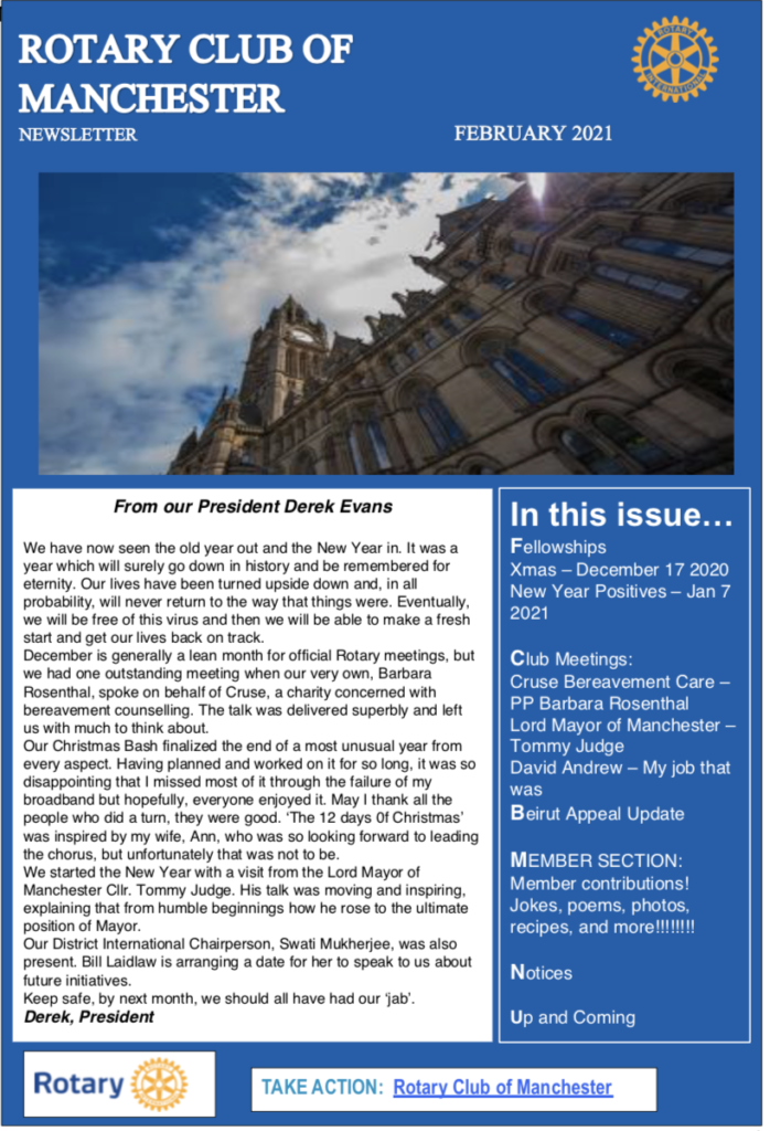 Rotary Club of Manchester Newsletter February 2021