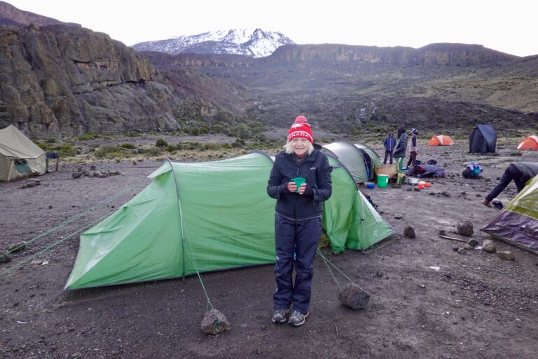 Dale in front of sleeping tent