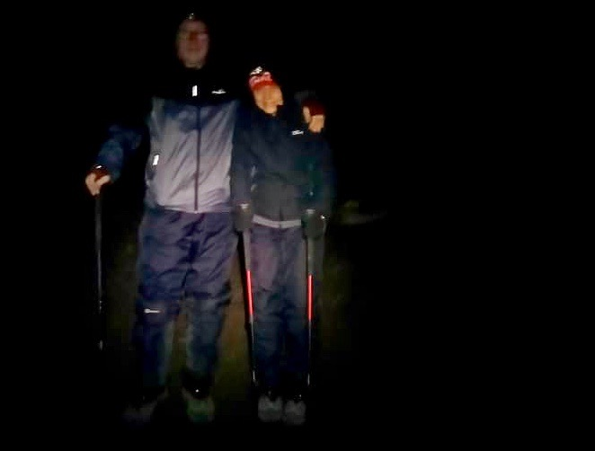 Starting the final ascent in the dark