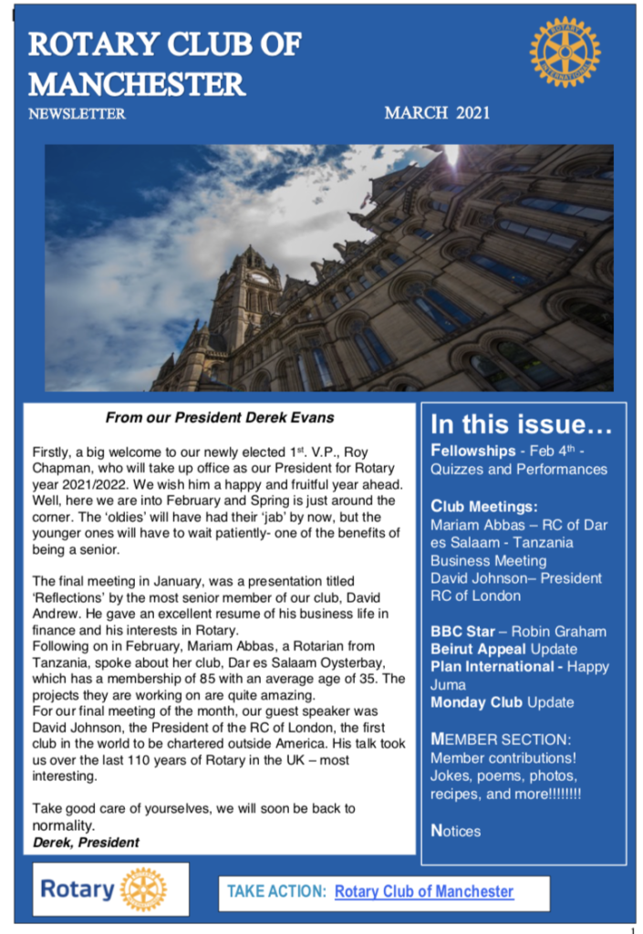 Rotary Club of Manchester Newsletter March 2021
