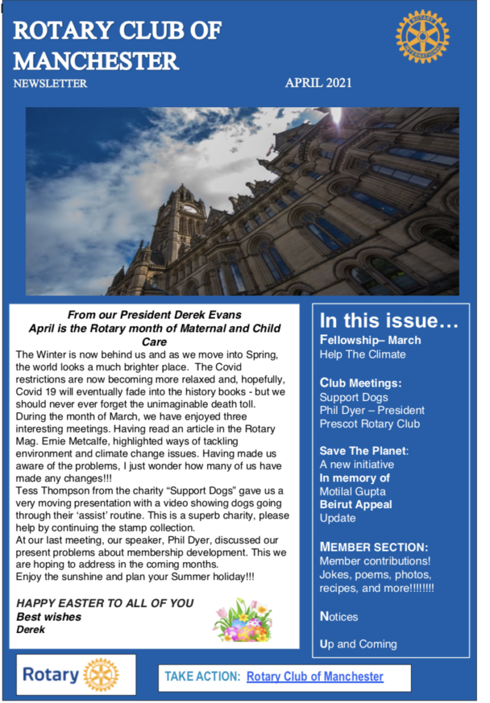 April 2021 Rotary Club of Manchester Newsletter