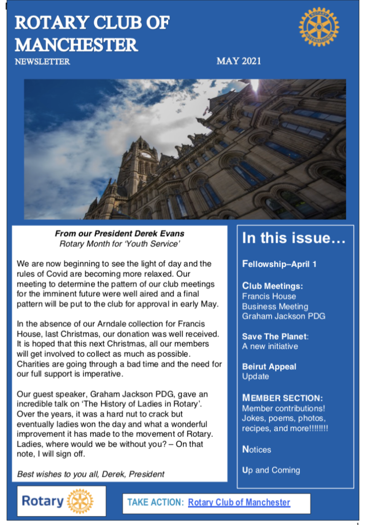 Rotary Club of Manchester Newsletter May 2021
