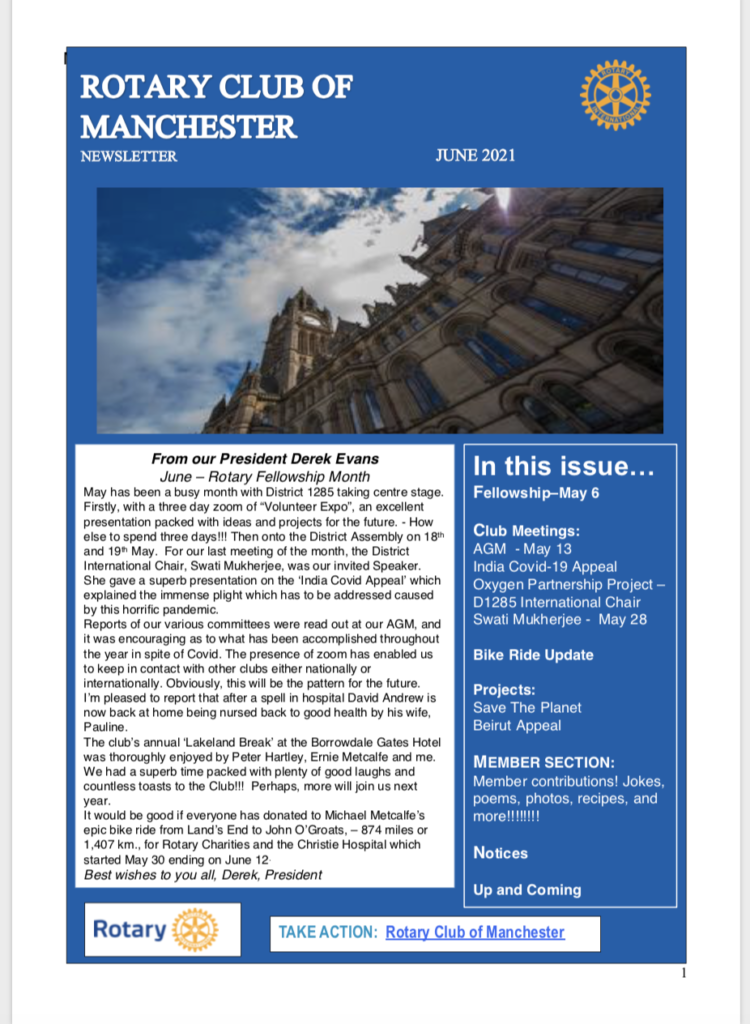 June 2021 Newsletter Rotary Club of Manchester