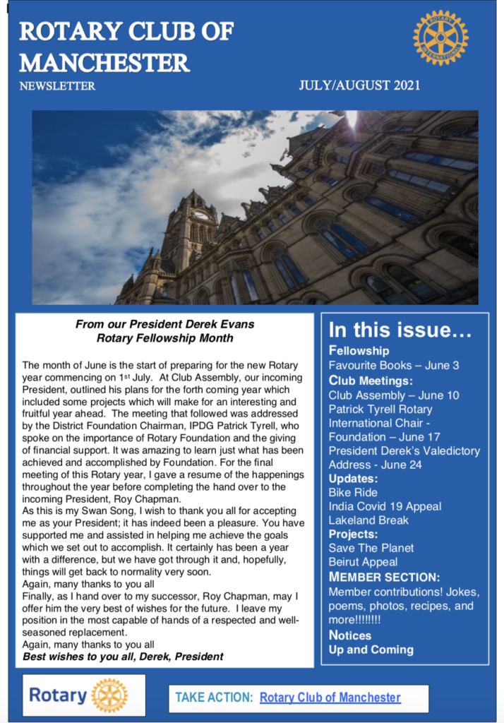 Rotary Club of Manchester Newsletter July/August 2021