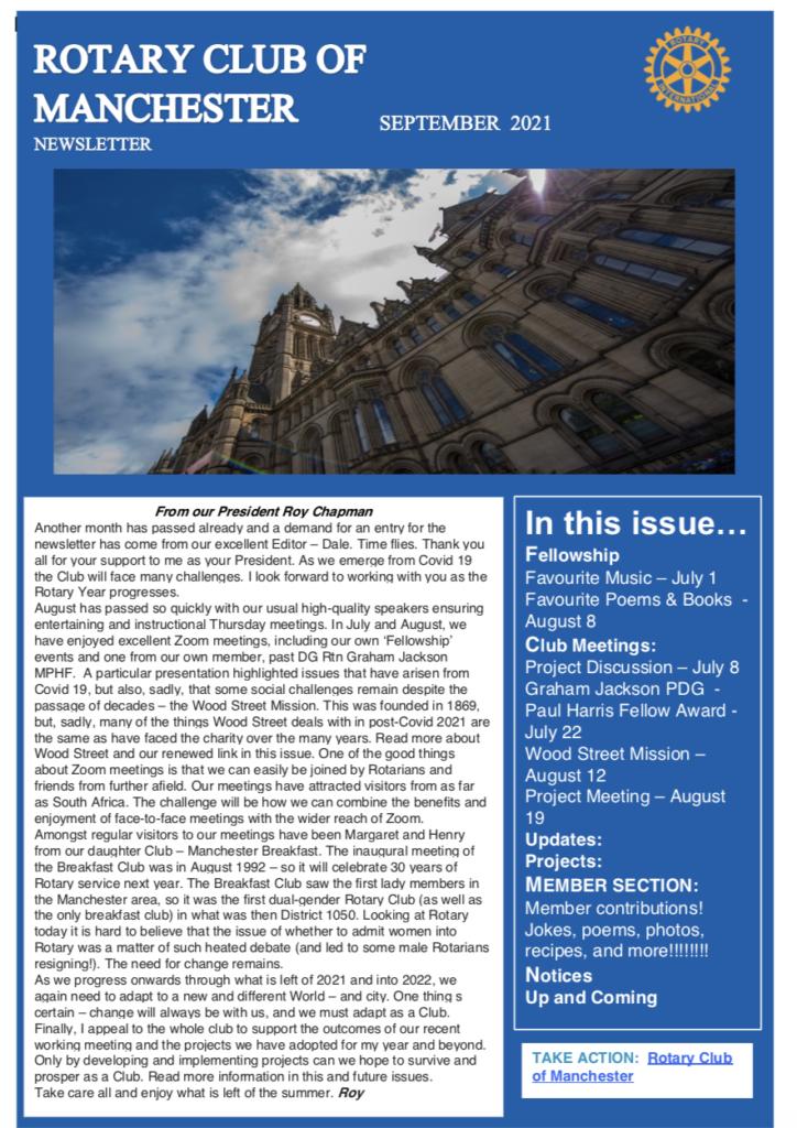 Rotary Club of Manchester Newsletter September 2021