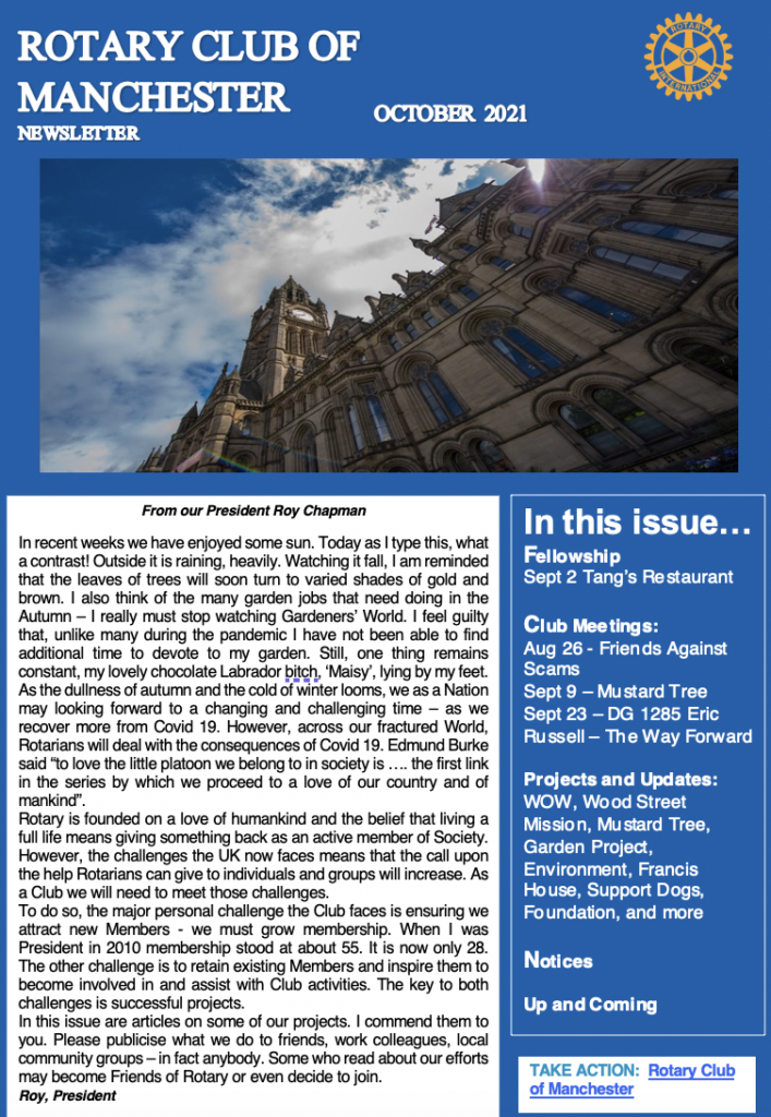 Rotary Club of Manchester Newsletter October 2021